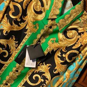 Versace Baroque Print Button-Up Silk Shirt